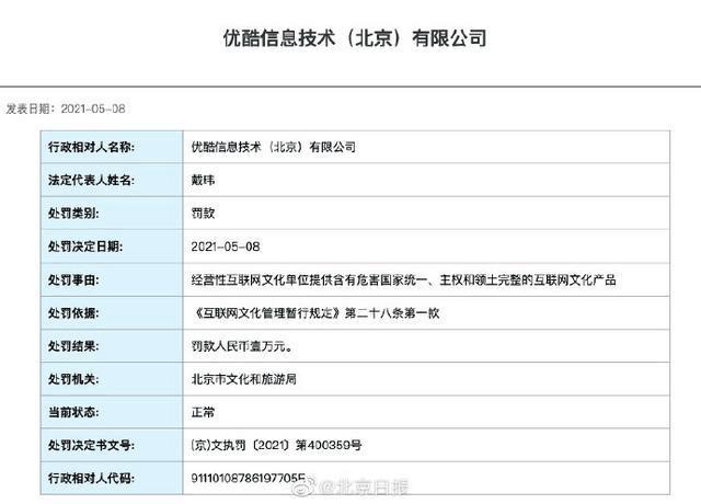 优酷被北京文旅局处罚:提供含危害国家统一互联网文化产品